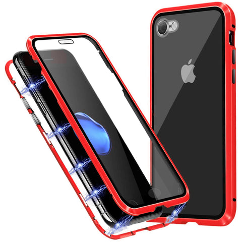Tough Glass Magnetic case for iPhone SE 2020 - Red