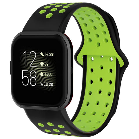 Rubber Sports Fitbit Versa Strap - Green/Black