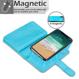 Classic Detachable big wallet for iPhone X/XS - Aqua - screenhug