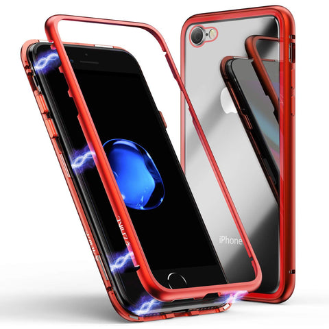 Metal Magnetic Glass case for iPhone 7/8 - Red