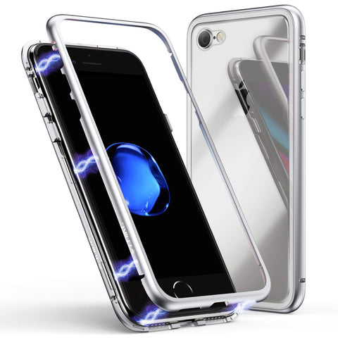 Metal Magnetic Glass case for iPhone 7/8 - Silver