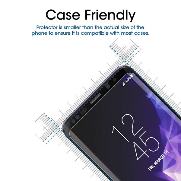 Samsung Galaxy S9 Plus Glass Screen Protector - Case Black - screenhug