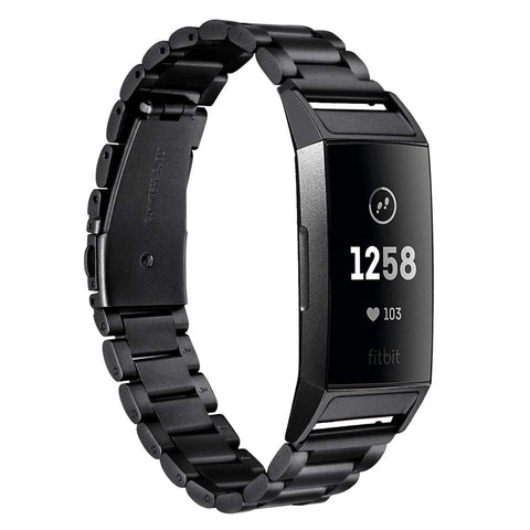 Metal Strap for Fitbit Charge 3 - Black - screenhug