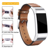 Leather Band for Fitbit Charge 2 - Brown - screenhug
