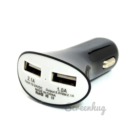 Dual USB Car Charger - Black/White