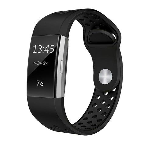Rubber Sports Strap for Fitbit Charge 2 - Black