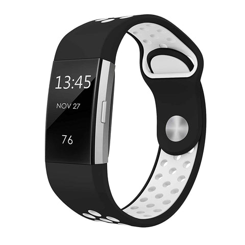 Rubber Sports Strap for Fitbit Charge 2 - Black/White