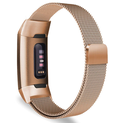 Milanese Metal Strap for Fitbit Charge 3 / 4 - Rose Gold