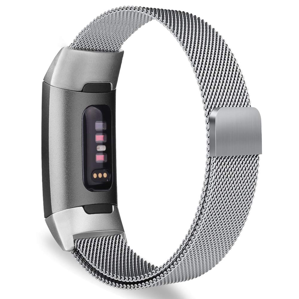 Milanese Metal Strap for Fitbit Charge 3 - Silver - screenhug
