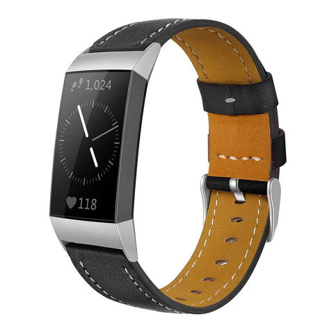 Leather Band for Fitbit Charge 3 - Black - screenhug