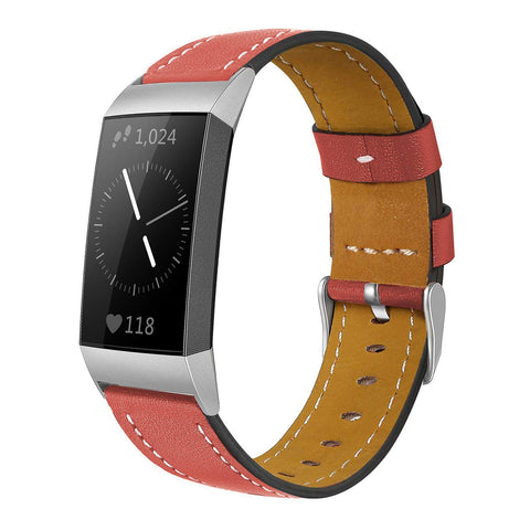 Leather Band for Fitbit Charge 3 - Red - screenhug