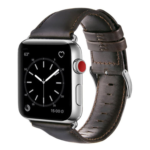 Leather Strap for Apple Watch 38/40mm - Dark Brown
