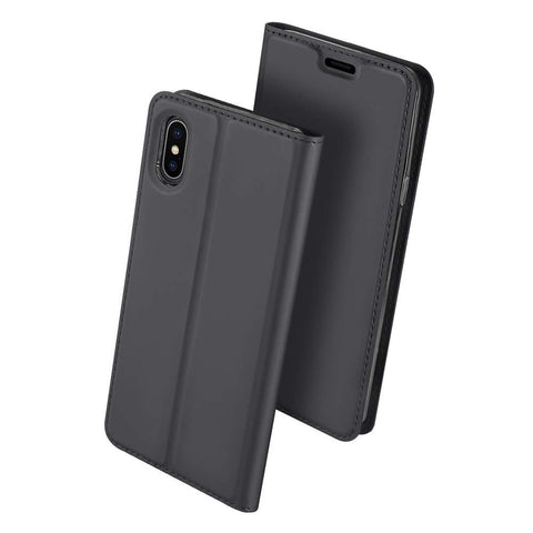 Slim Card Flip case for iPhone XS Max - Dark Grey