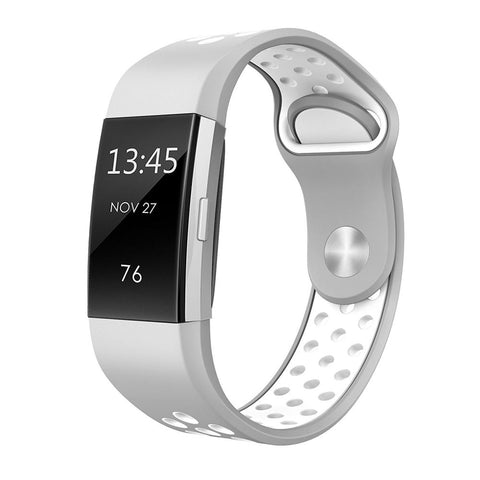 Rubber Sports Strap for Fitbit Charge 2 - Grey (Small)