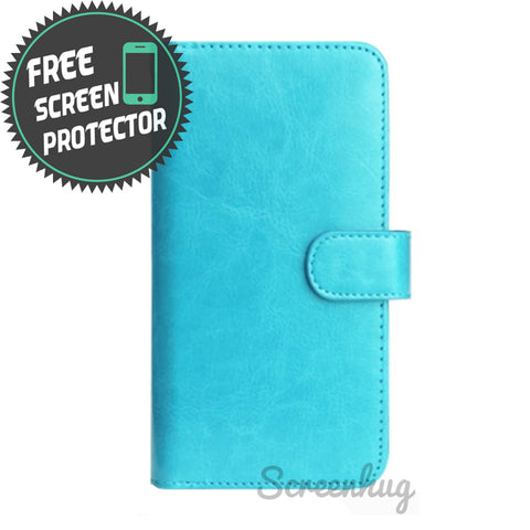 Classic Detachable big wallet for iPhone X - aqua