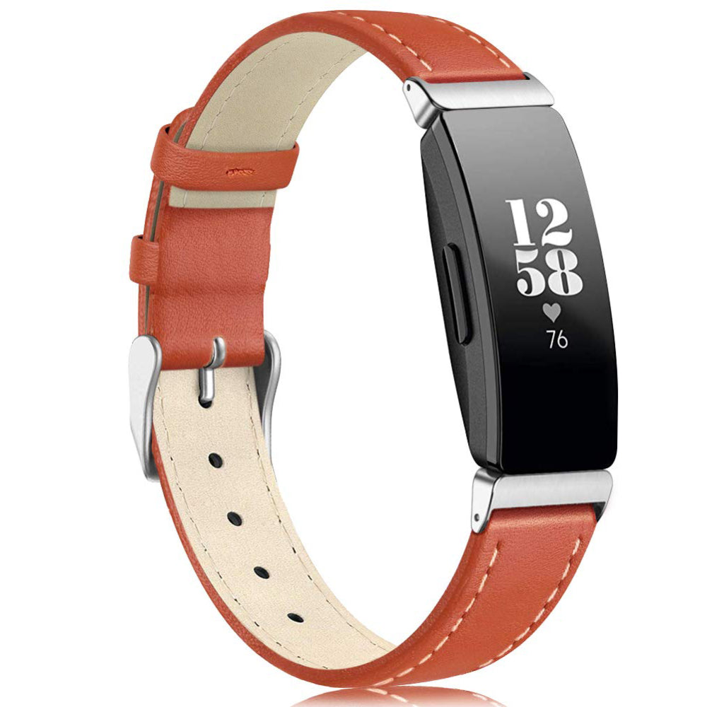 Leather Strap for Fitbit Inspire - Orange - screenhug