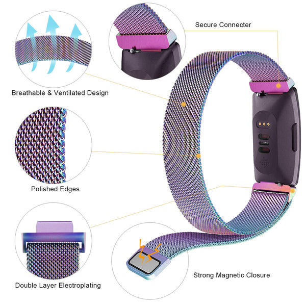Milanese Strap for Fitbit Inspire - Rainbow - screenhug