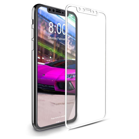 iPhone X Curved Glass Screen Protector - White