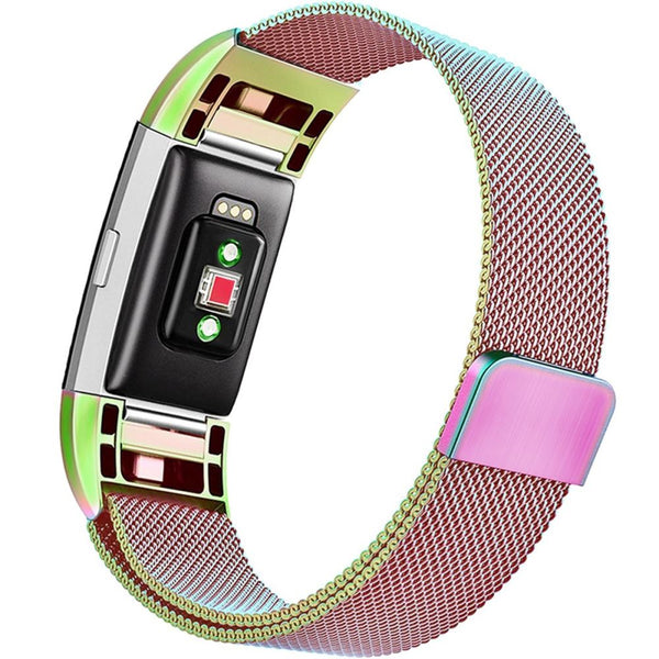 Milanese Metal Strap for Fitbit Charge 2 - Rainbow - screenhug