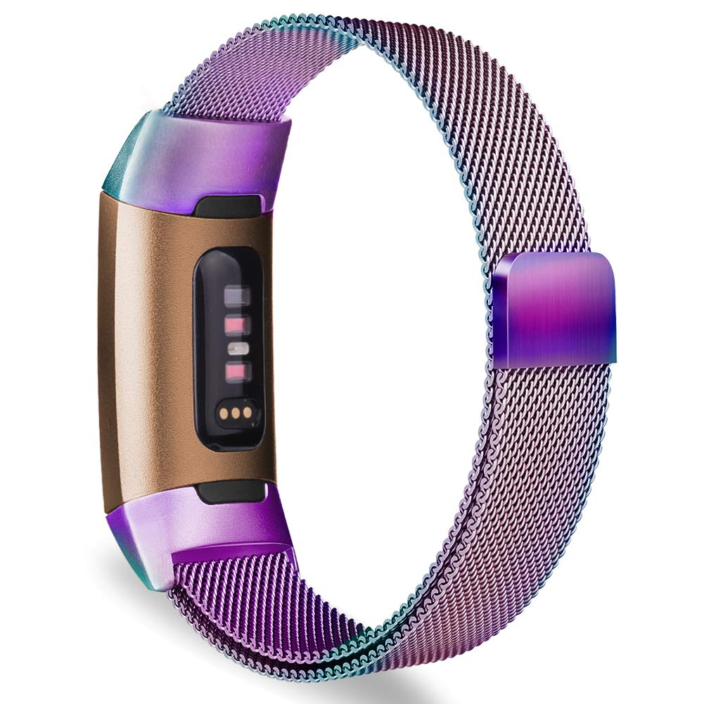 Milanese Metal Strap for Fitbit Charge 3 - Rainbow - screenhug