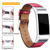 Leather Band for Fitbit Charge 2 - Red - screenhug