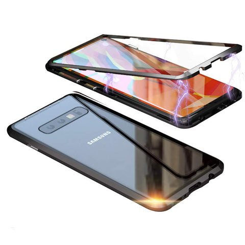 Metal Magnetic Glass Case for Samsung Galaxy S10 - Black