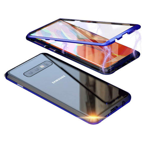 Metal Magnetic Glass Case for Samsung Galaxy S10 - Blue