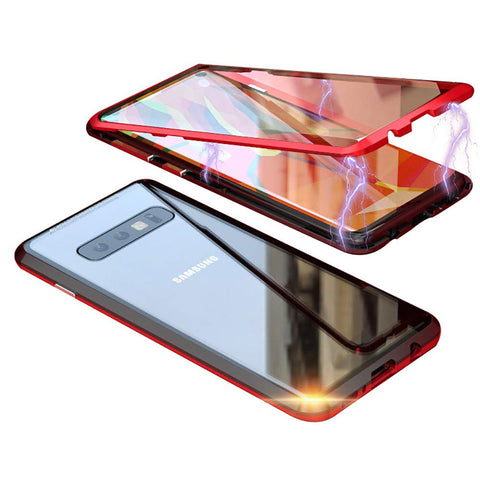 Metal Magnetic Glass Case for Samsung Galaxy S10 - Red