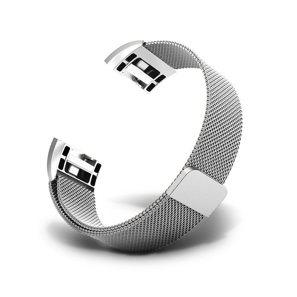 Milanese Metal Strap for Fitbit Charge 2 - Silver - screenhug