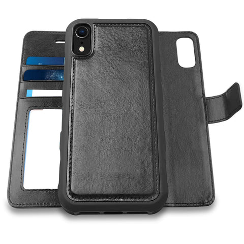 Slim detachable wallet case for iPhone XR - Black