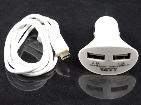 Duel USB Car Charger + Type C cable combo - White