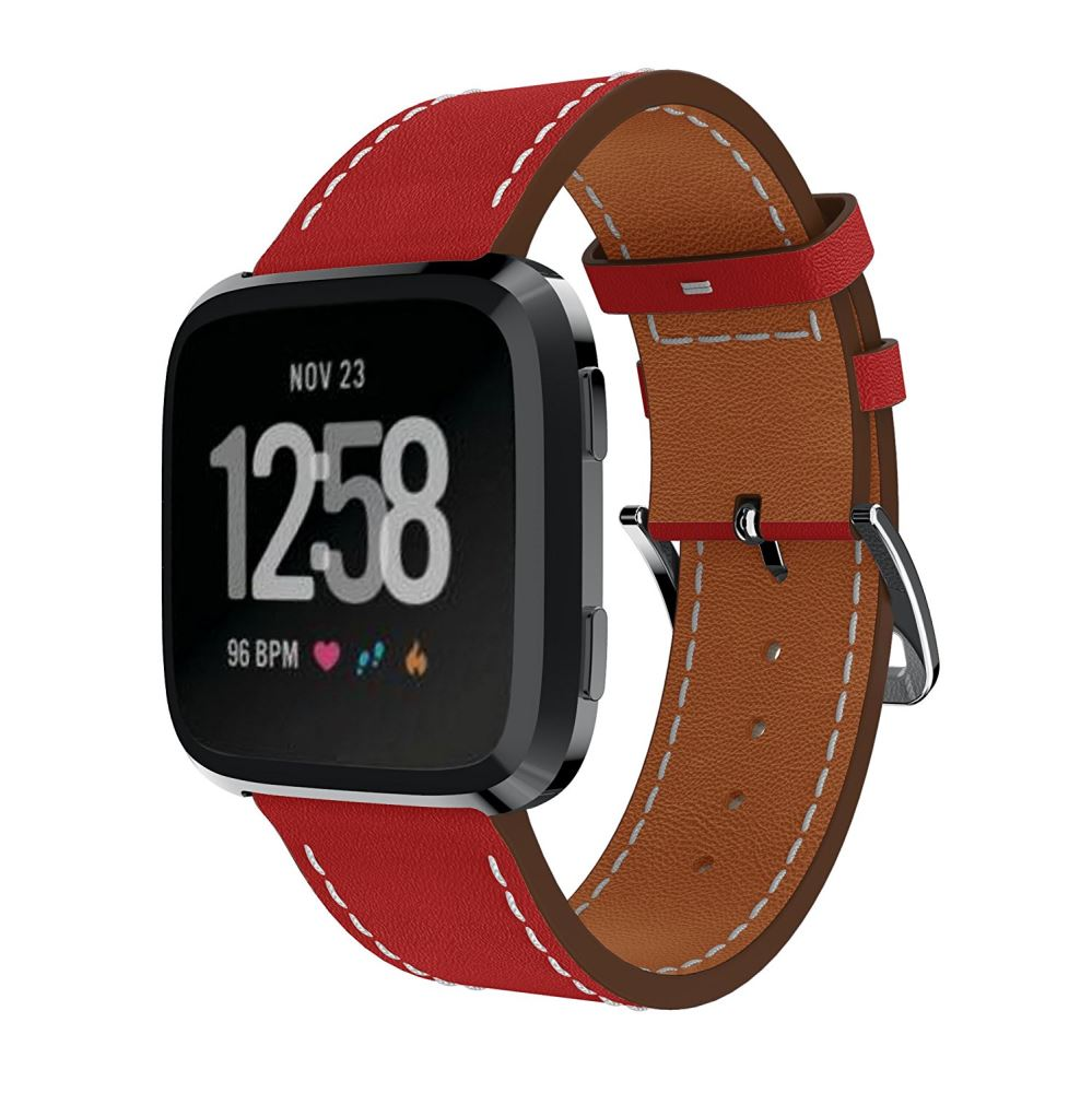 Leather Strap for Fitbit Versa - Red - screenhug