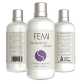 FEMI - FACIAL OIL + LAVENDER 100ml. (CERAMIC BOTTLE) CERTIFIED ORGANIC