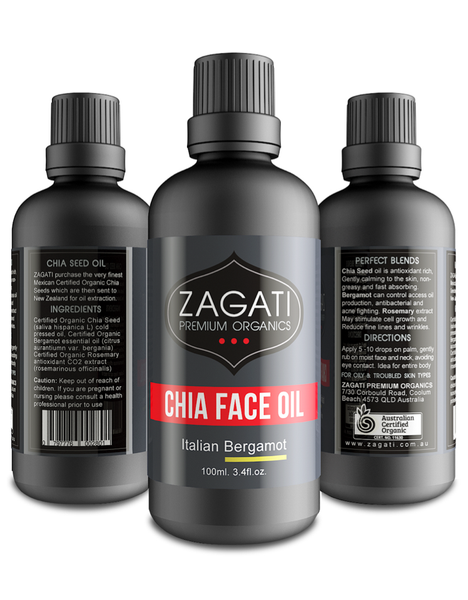 ZAGATI - FACE OIL + BERGAMOT 100ml. CERTIFIED ORGANIC