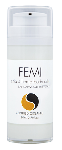 FEMI - BODY OILS CHIA & HEMP + SANDALWOOD AND VETIVER 80ml. (AIRLESS BOTTLE) CERTIFIED ORGANIC