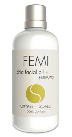 FEMI - FACIAL OIL + BERGAMOT 100ml. (CERAMIC BOTTLE) CERTIFIED ORGANIC