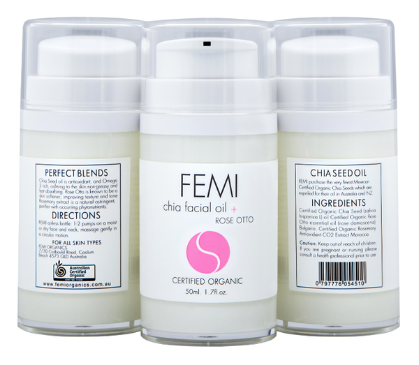 FEMI - FACIAL OIL CHIA + ROSE OTTO 50ml (AIRLESS BOTTLE) CERTIFIED ORGANIC
