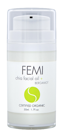 FEMI - FACIAL OILS CHIA + BERGAMOT 50ml. (AIRLESS BOTTLE) CERTIFIED ORGANIC