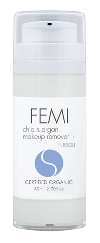FEMI - MAKE UP REMOVER CHIA + ARGAN Blended with NEROLI 80ml. (AIRLESS BOTTLE) CERTIFIED ORGANIC