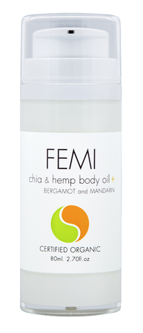 FEMI - BODY OILS CHIA & HEMP + BERGAMOT and MANDARIN 80ml. (AIRLESS BOTTLE) CERTIFIED ORGANIC