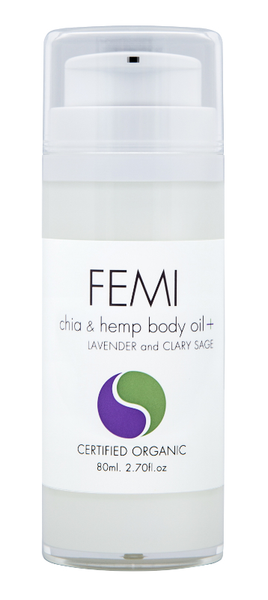 FEMI - BODY OILS CHIA & HEMP + LAVENDER and CLARY SAGE 80ml. (AIRLESS BOTTLE) CERTIFIED ORGANIC