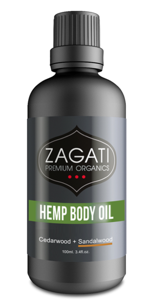 ZAGATI - HEMP BODY OIL + CEDARWOOD and SANDALWOOD 100ml. CERTIFIED ORGANIC
