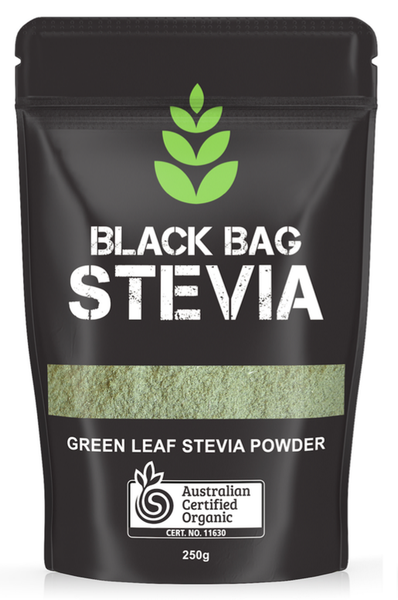 BLACK BAG - GREEN LEAF STEVIA POWDER 250G (ORIGIN INDIA) CERTIFIED ORGANIC