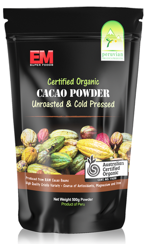 EM SUPERFOODS - CACAO POWDER 500G (ORIGIN PERU) CERTIFIED ORGANIC