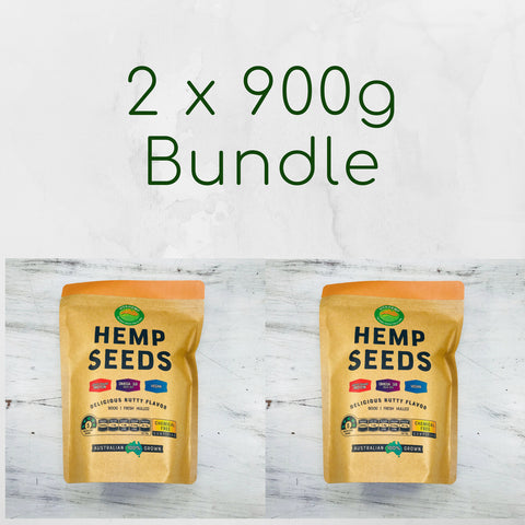 BUNDLE OF 2 PACKS / 900G HULLED HEMP SEEDS