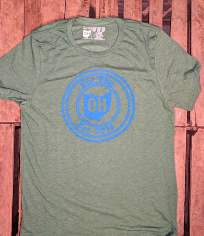 MENS GRASS GREEN/BLUE FRONT FOR THE OH TRI-BLEND - FOR THE OH, OSU Football  - for the oh, Ohio University football - for the oh