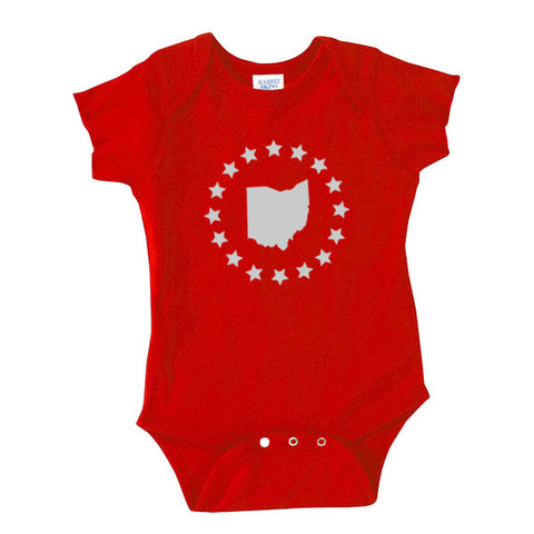 Ohio Stars-Buckeye-Onesie - FOR THE OH, OSU Football  - for the oh, Ohio University football - for the oh