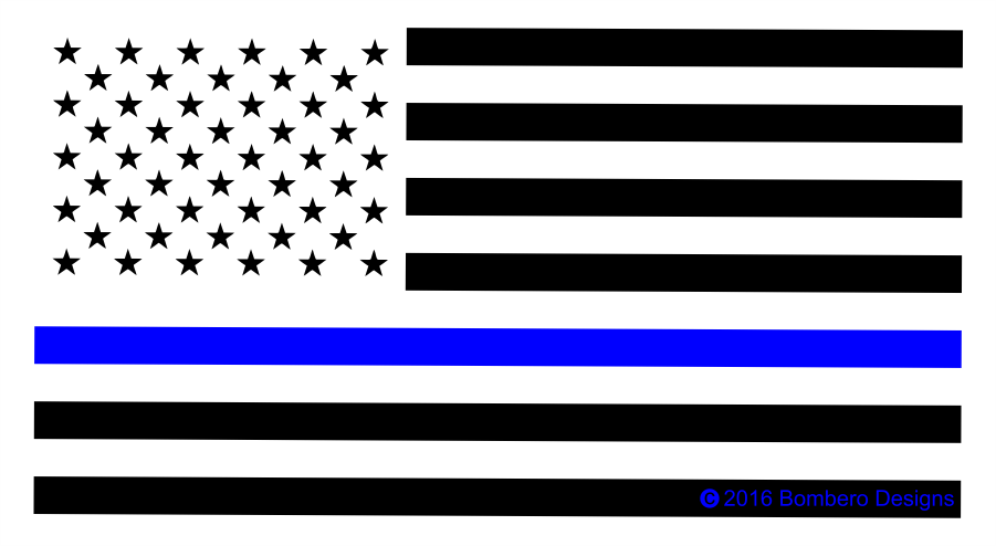 Thin Blue Line Sticker - Bombero Designs for firefighters