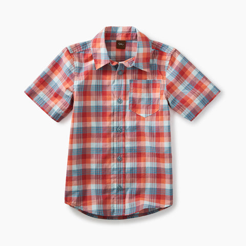 Tea Collection - Plaid short sleeve Button Shirt