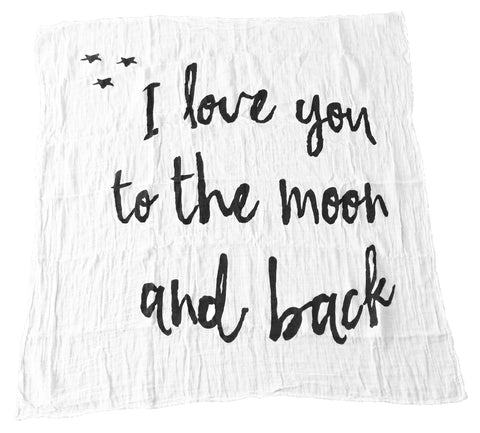 modern burlap - organic cotton muslin swaddle blanket i love you to the moon and back